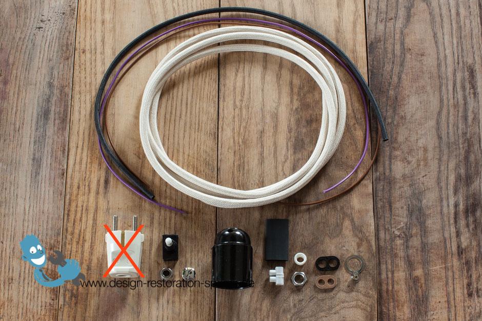 electrical rewiring set for vintage kaiser idell 6631 ebay. Black Bedroom Furniture Sets. Home Design Ideas