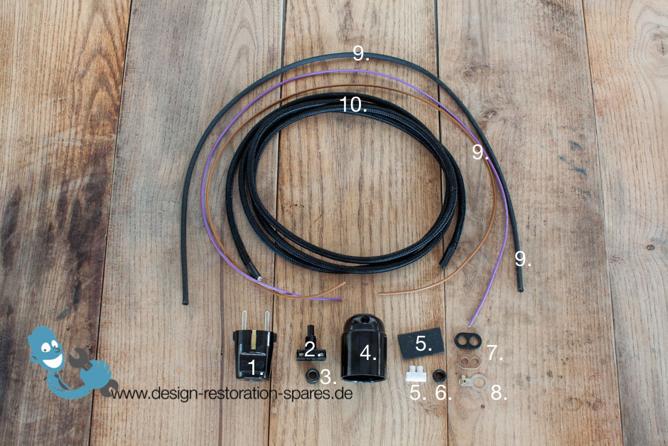 Electrical Rewiring Set For Vintage Kaiser Idell 6739