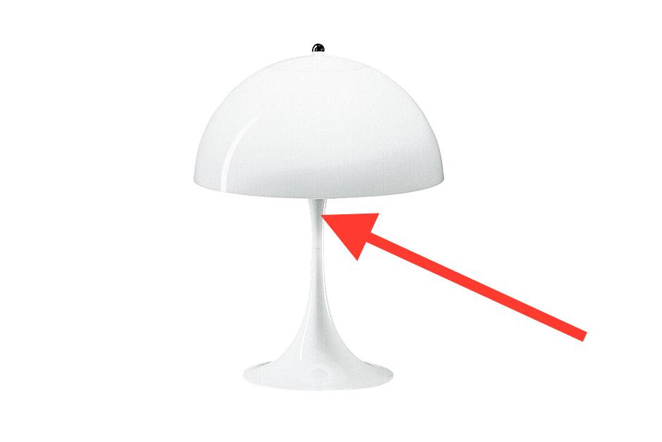 Upper Trumpet Fixture for Verner Panton Panthella Floor Lamp